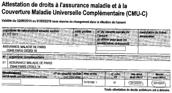 C'est une attestation de l'Assurance Maladie avec la couverture de tous les droits. attestation complémentaire (CMU-C)